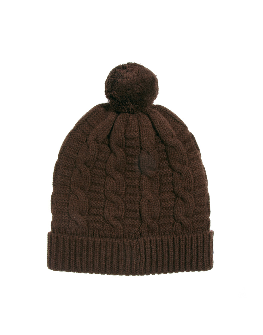 990408e5e4d Lyst - Fred Perry Beanie Hat with Bobble in Brown for Men