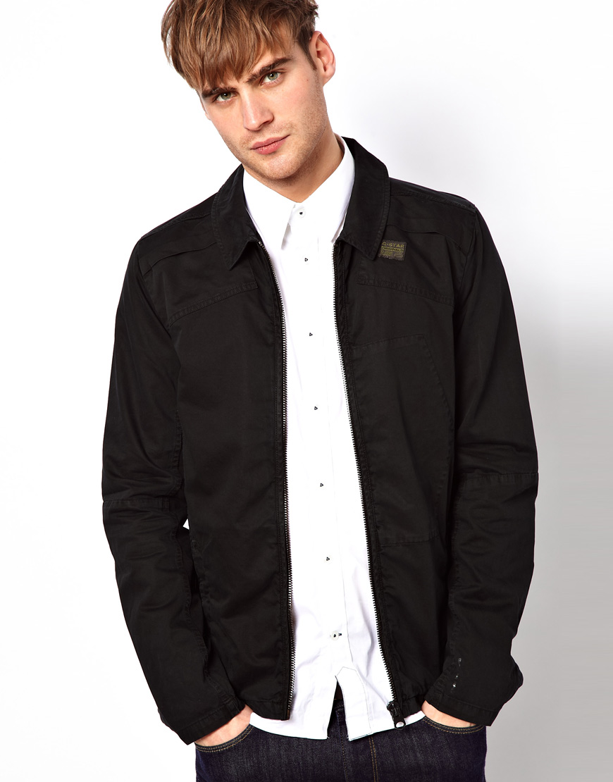 G-star raw Overshirt Jacket Blan Zip Front in Black for Men | Lyst