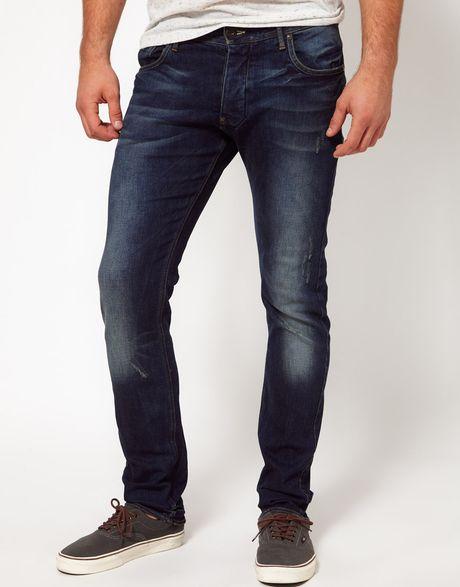 star raw gstar jeans defend super slim fit dark aged in blue for men. Black Bedroom Furniture Sets. Home Design Ideas