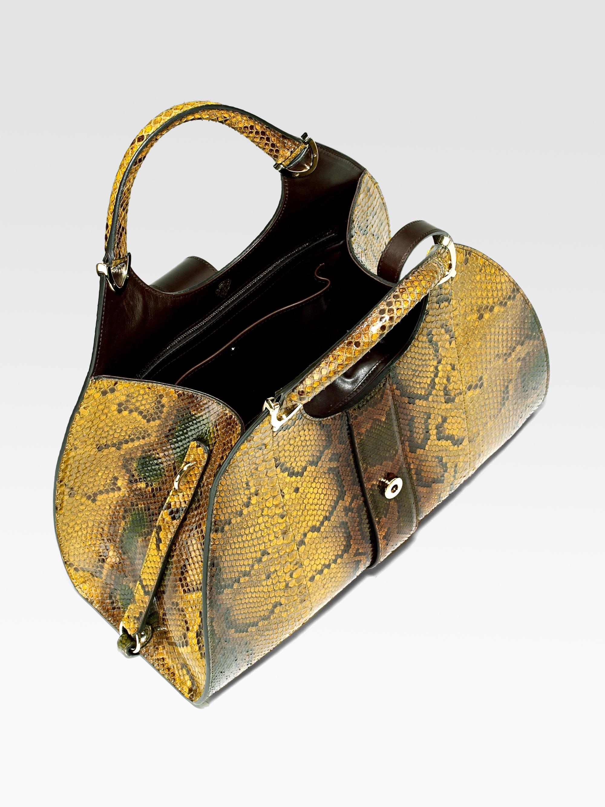 eca4a17117e4 Gucci Python Stirrup Medium Top Handle Bag in Metallic - Lyst