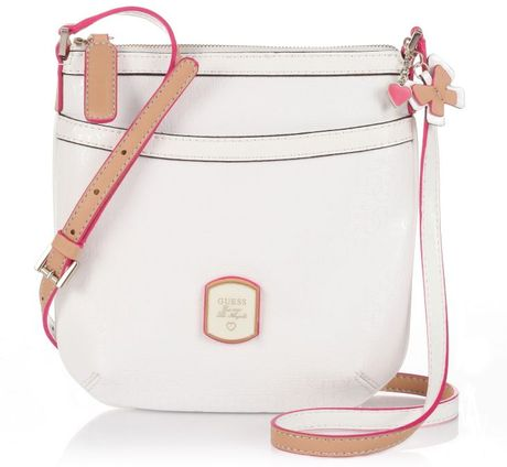 Guess Frosted Crossbody Top Zip in White - Lyst