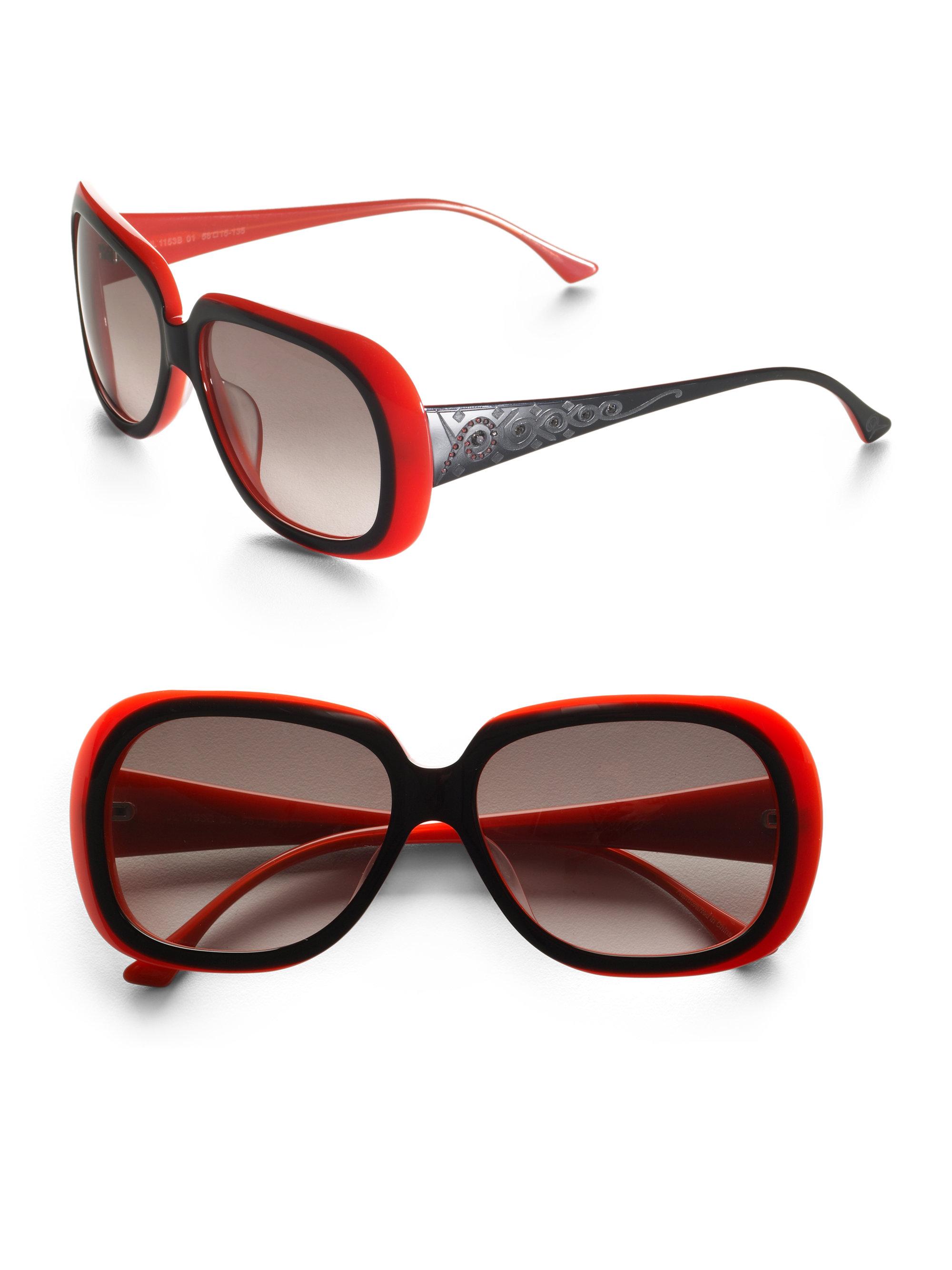 judith leiber aztec acetate sunglasses in coral lyst