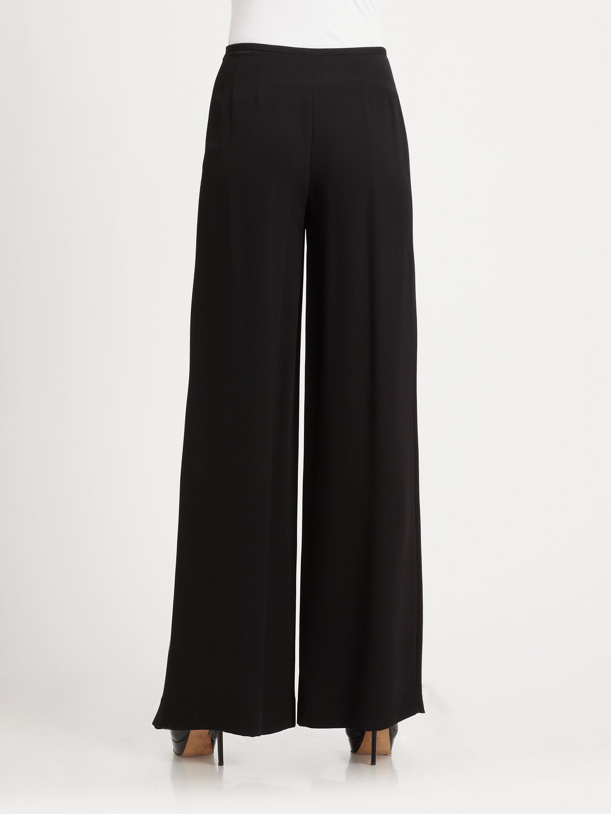 Lyst Lafayette 148 New York Woven Wide Leg Pants In Black
