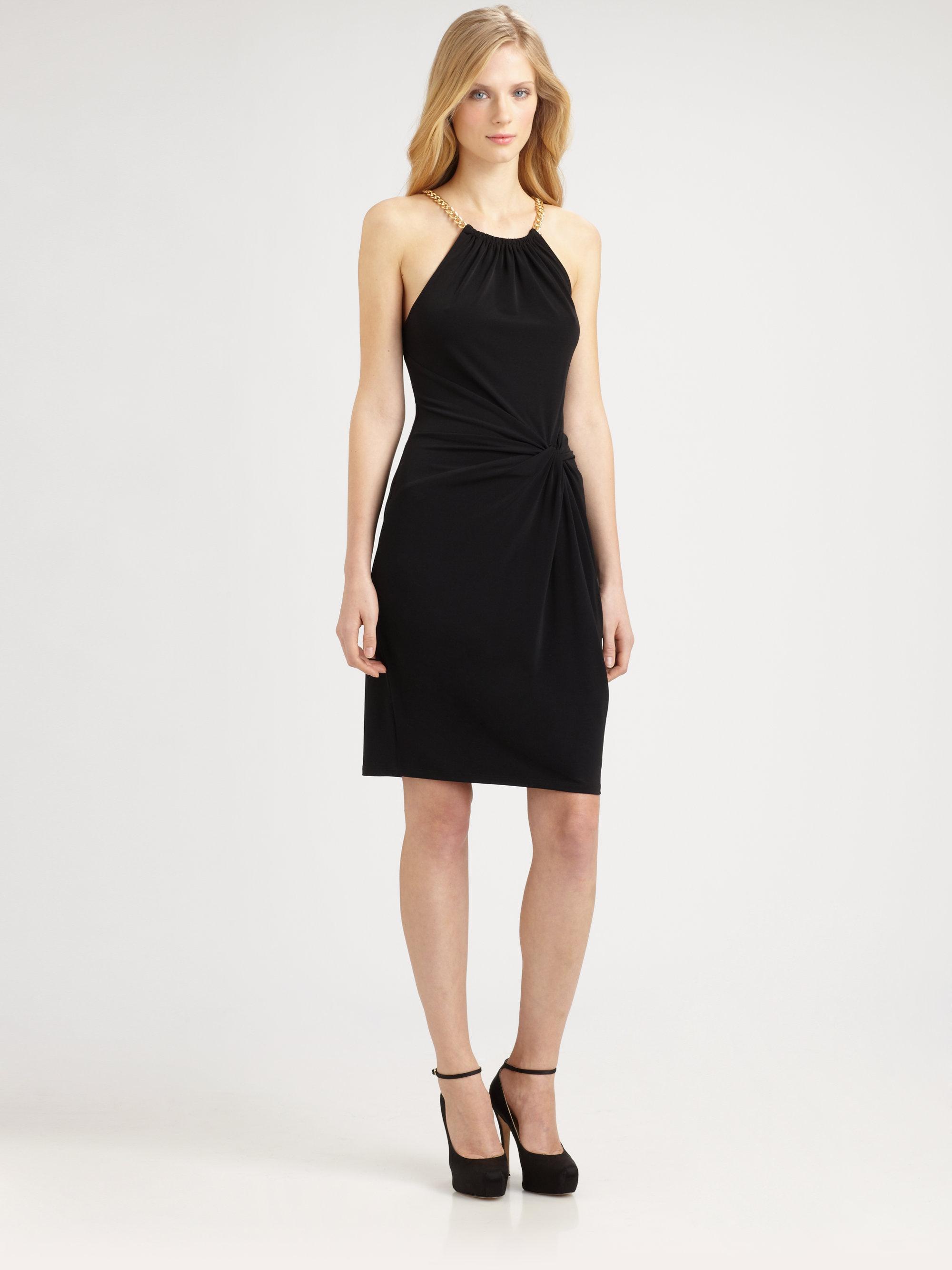 Michael By Michael Kors Halter Twistfront Dress In Black