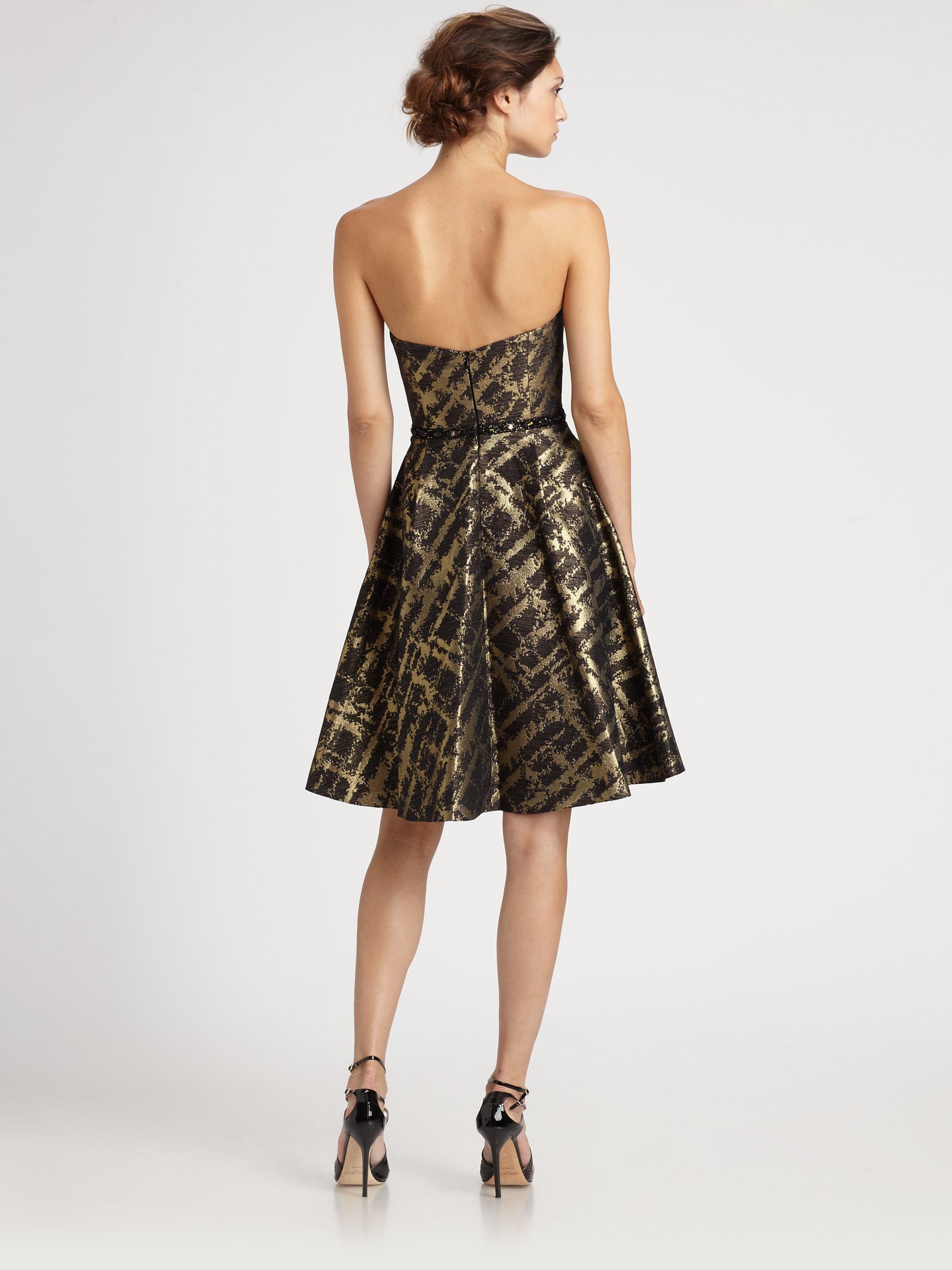 Lyst Ml Monique Lhuillier Brocade Dress In Black