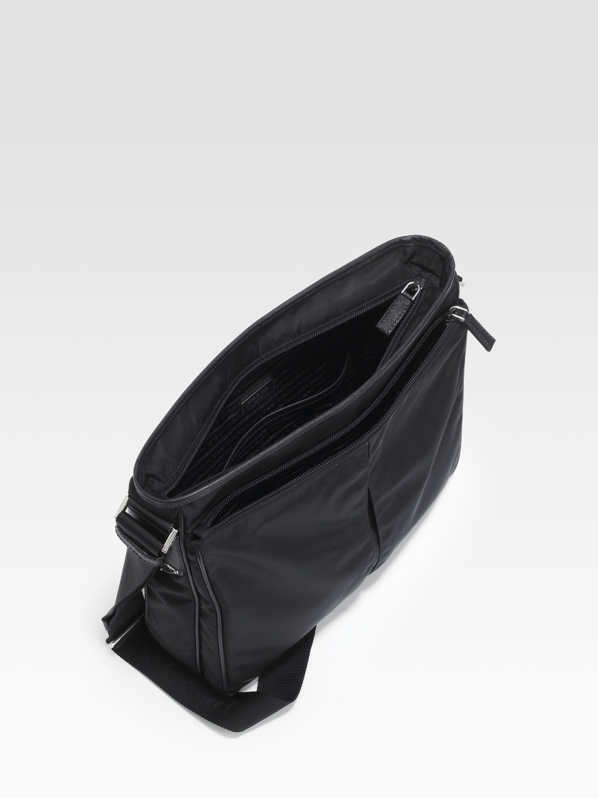 c0b09fb0465f ... discount lyst prada nylon large crossbody bag in black for men ec44e  5899b