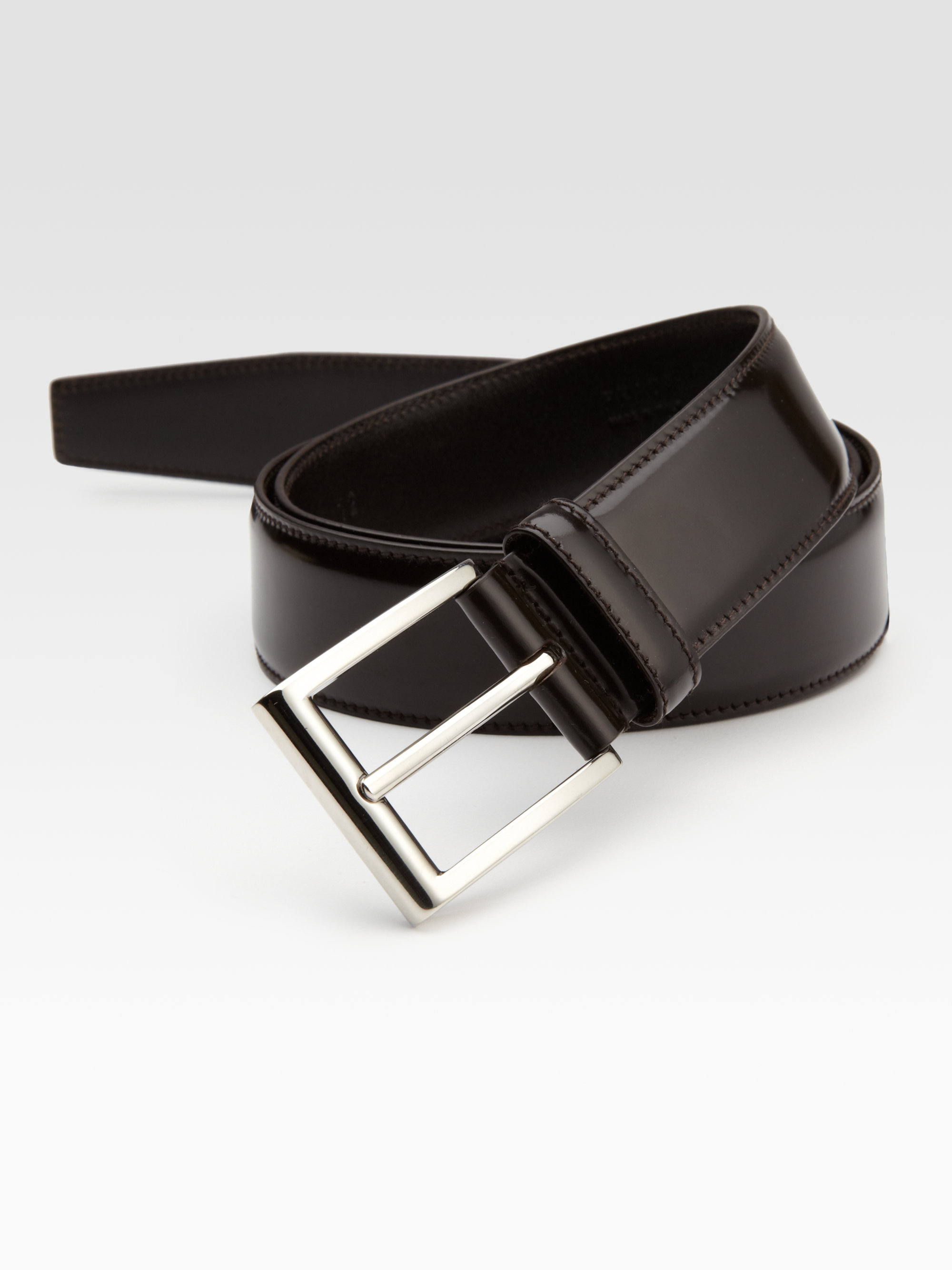 Prada Leather Cinture Belt in Brown for Men | Lyst