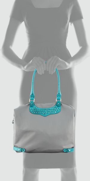 rebecca minkoff studded travel tote bag in gray turquoise