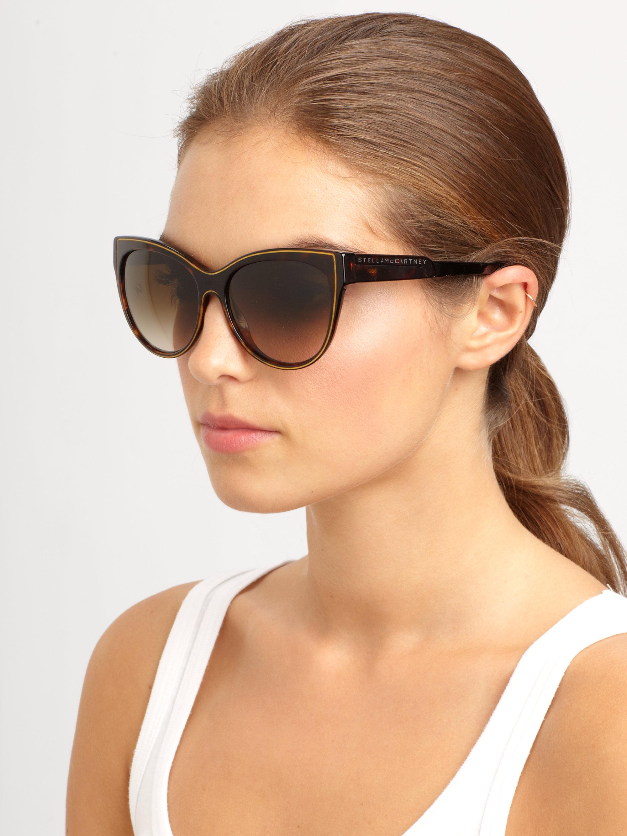9777ab813021 Lyst - Stella McCartney Oversized Acetate Cat s-Eye Sunglasses in Brown