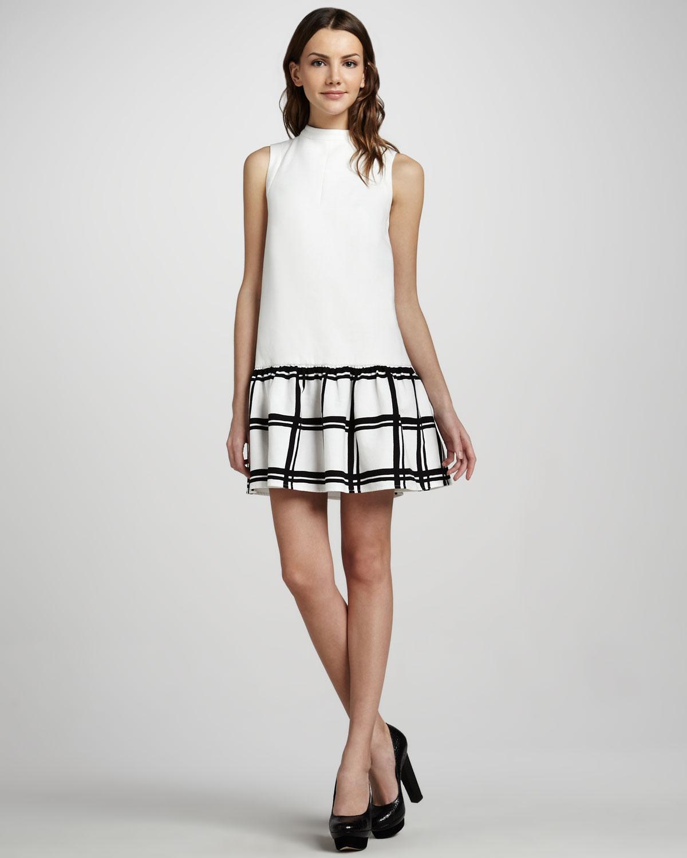 Tibi Sleeveless Dropped waist Dress in White (black/ivory ...