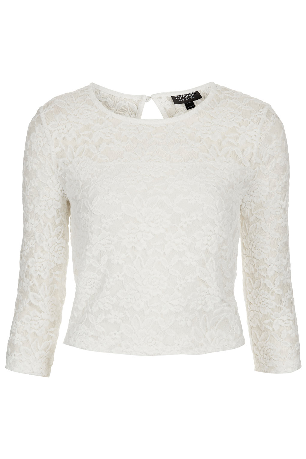 Lyst Topshop Floral Lace Crop Top In White