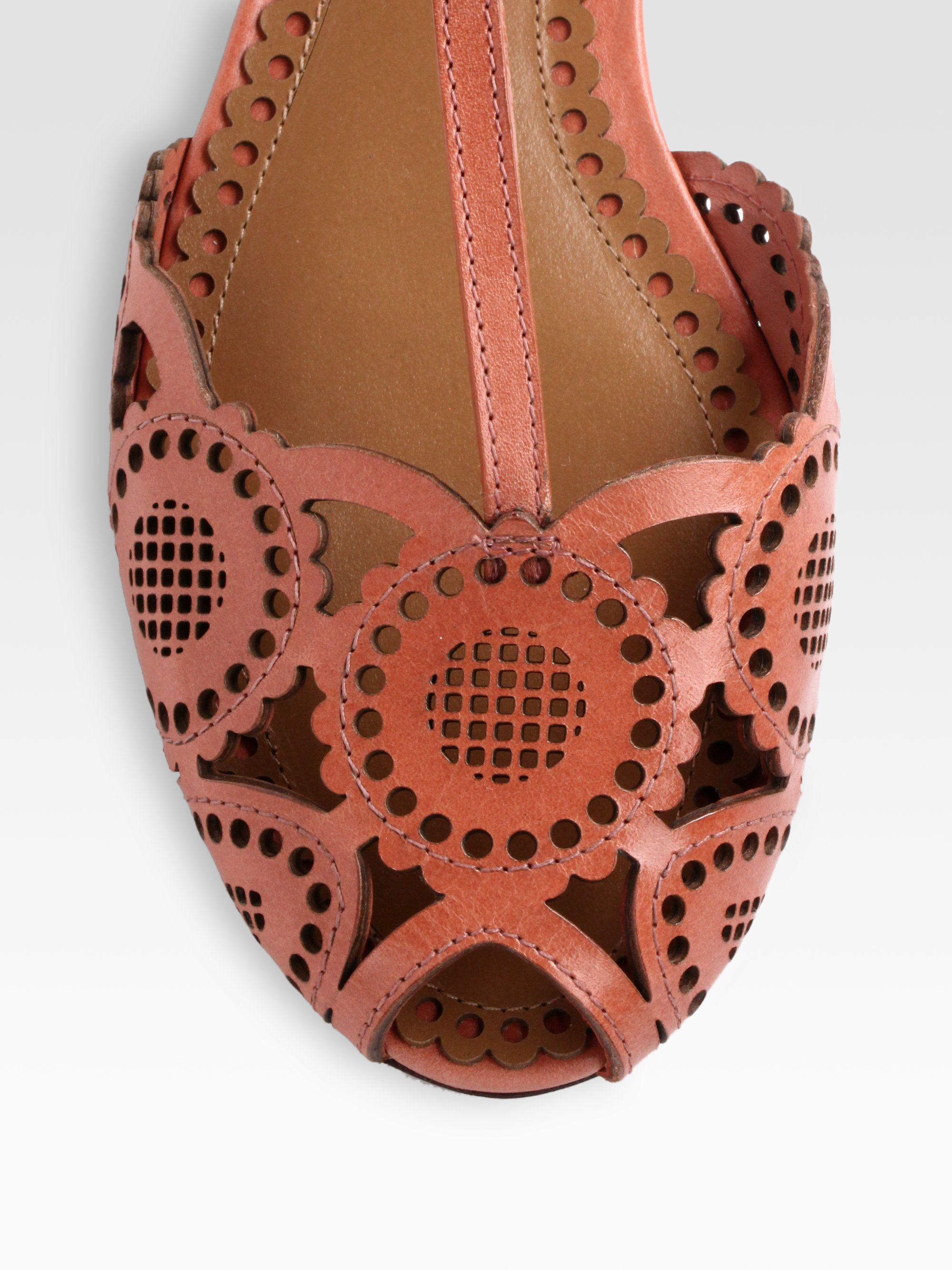 139991ea5 ... flat thong sandals 6aa44 8ea0c  promo code for lyst tory burch alexa  leather tstrap sandals in brown 8c9b9 d6bd2