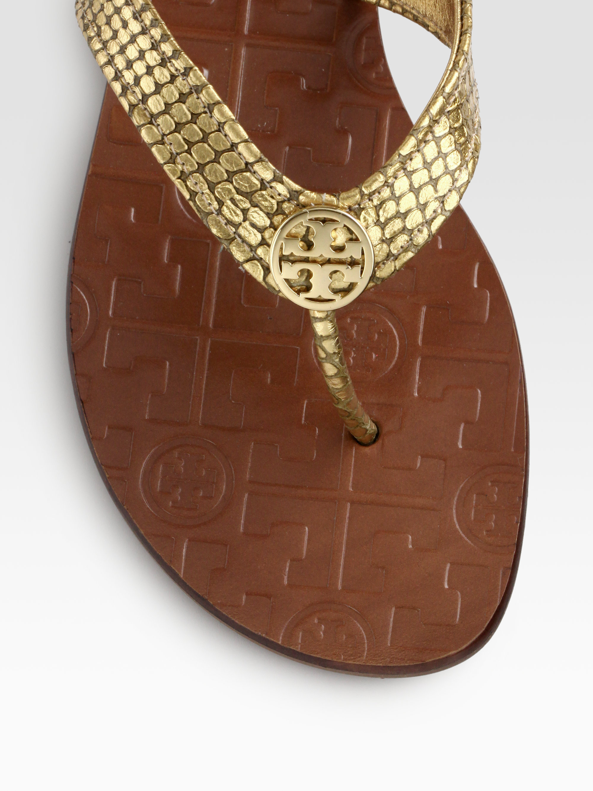 38176437b6e5f5 ... promo code for lyst tory burch thora metallic snakeprint leather thong  sandals in f41b2 01efa