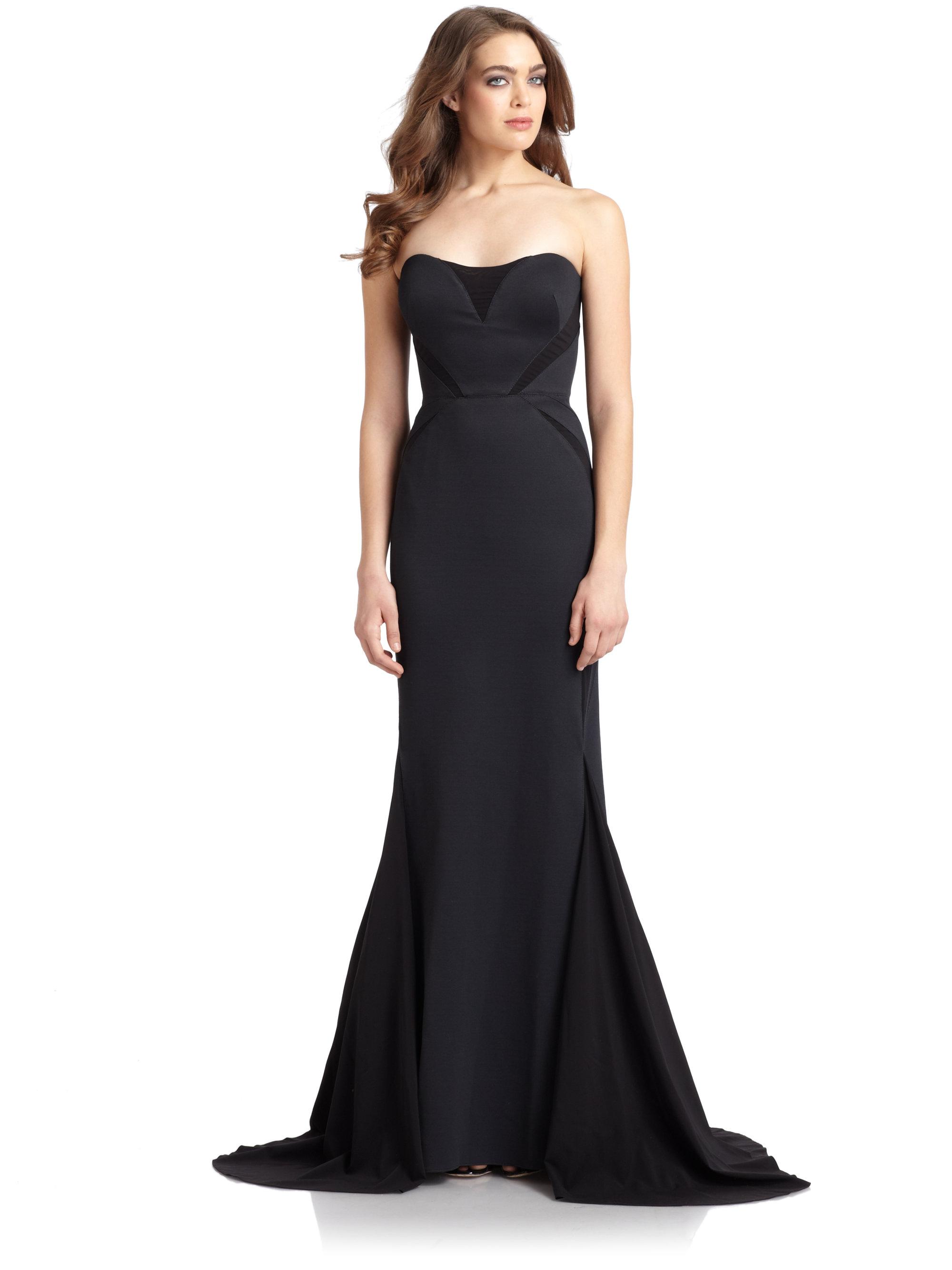 Lyst - Zac Posen Strapless Chiffon Inset Bondage Jersey Gown in Black