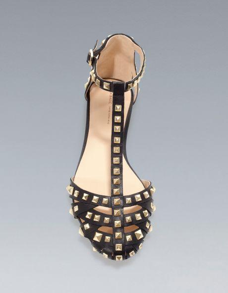 Zara Studded Sandal In Gold Black Lyst