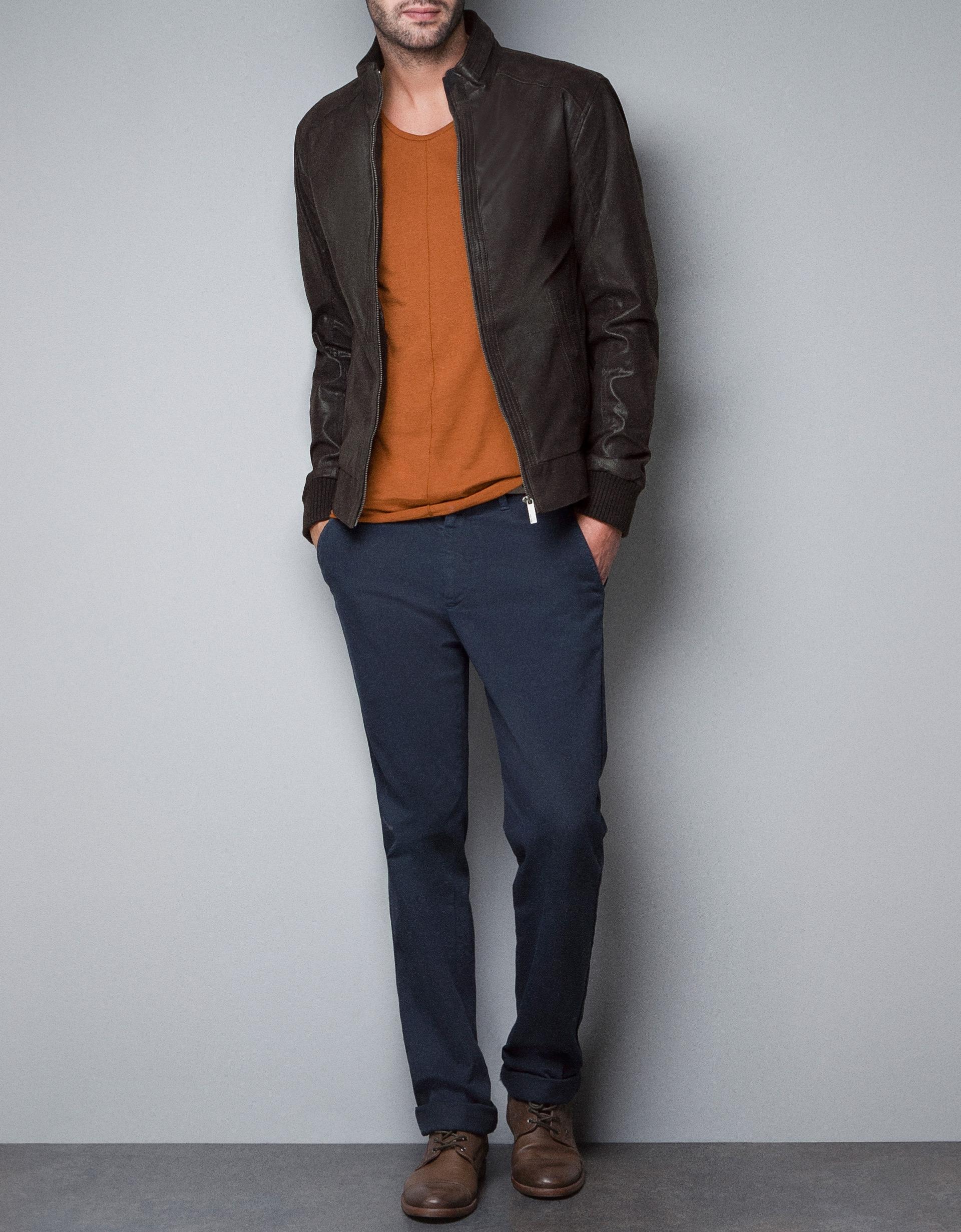 Leather jacket yellow zara - Zara Leather Jacket In Brown For Men