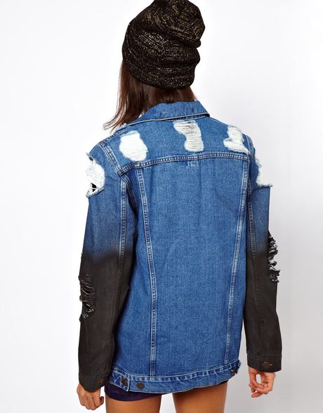 Asos Collection Denim Oversized Boyfriend Jacket with Rips and Coated Sleeve Detail in Blue (multi) - Lyst