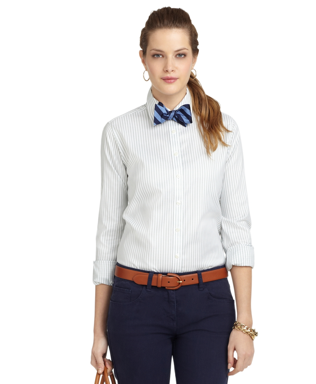Brooks brothers noniron classic fit wide stripe dress for Brooks brothers dress shirt fit