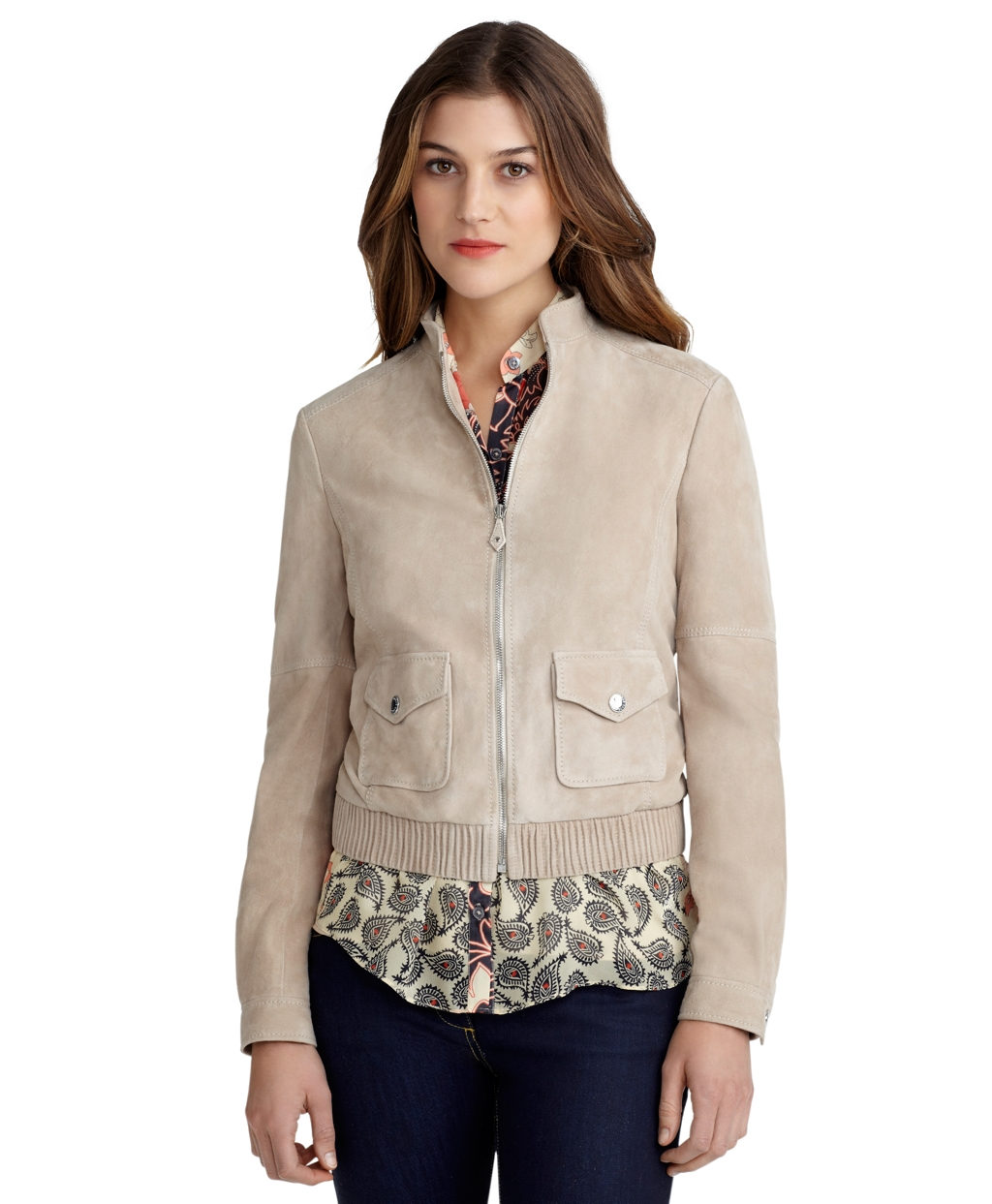 Brooks brothers Suede Bomber Jacket in Natural | Lyst