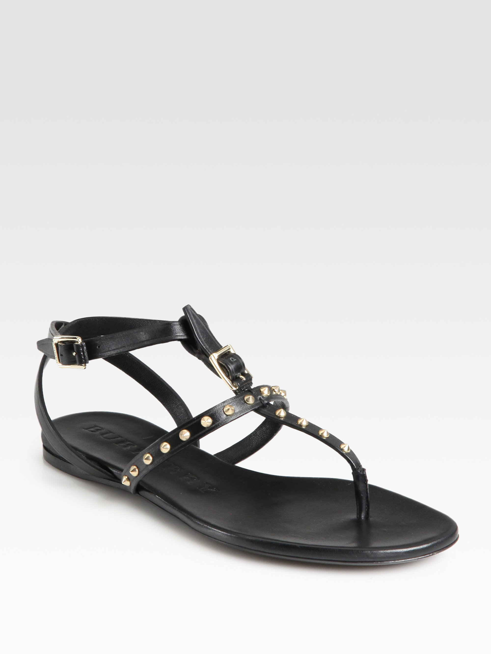 7dbdafc4a65 Lyst - Burberry Masefield Studded Leather T-Strap Sandals in Black