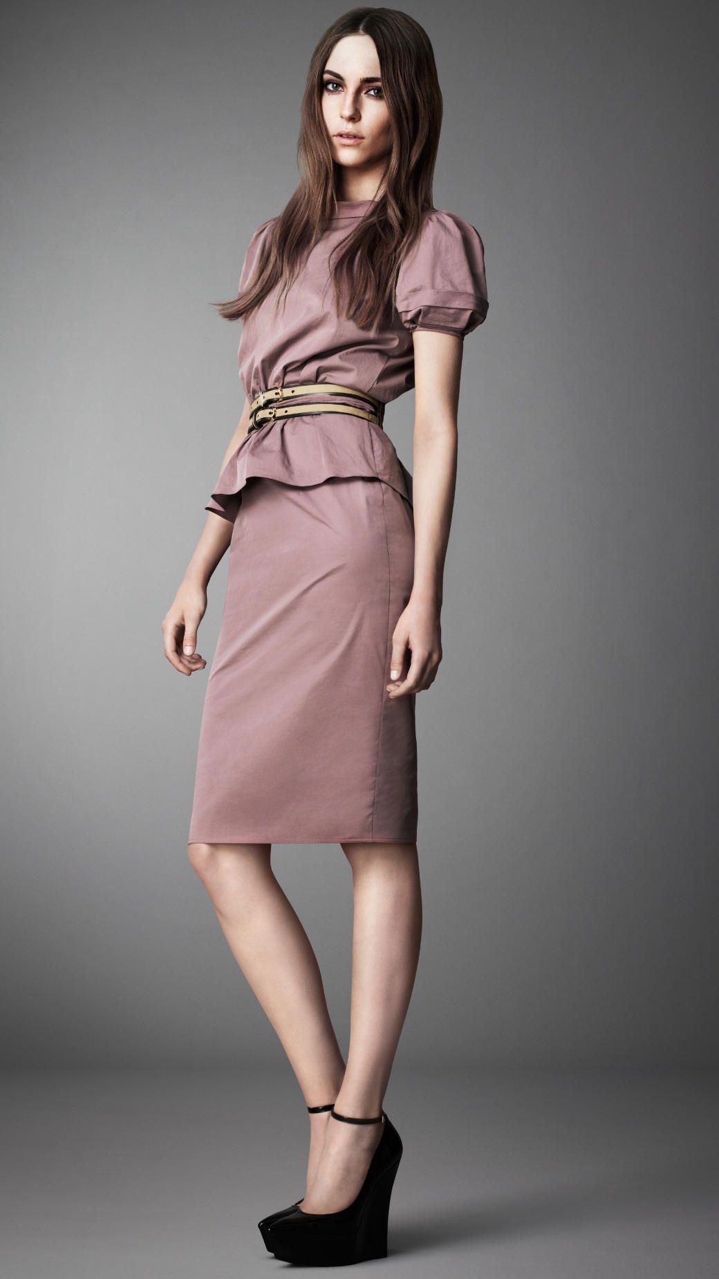 Lyst Burberry Puff Sleeve Peplum Dress In Purple