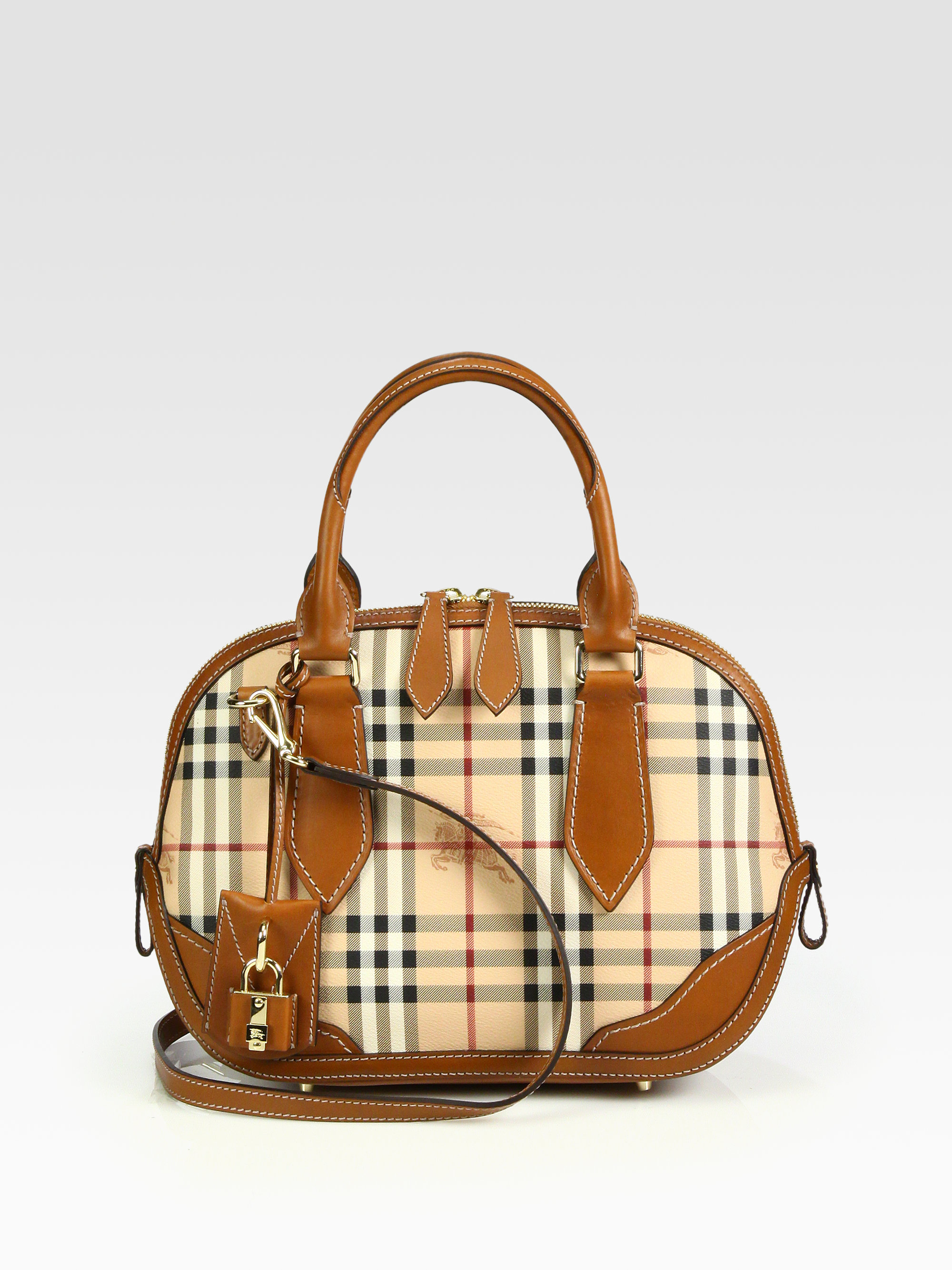 3fe21e0797b Burberry Orchard Small Mixedmedia Haymarket Bowling Bag in Brown - Lyst