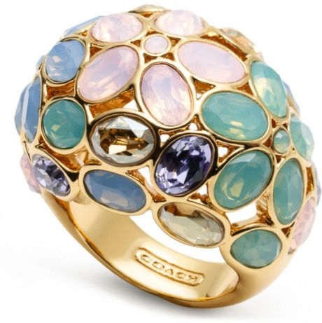 coach garden flower domed ring in multicolor gold