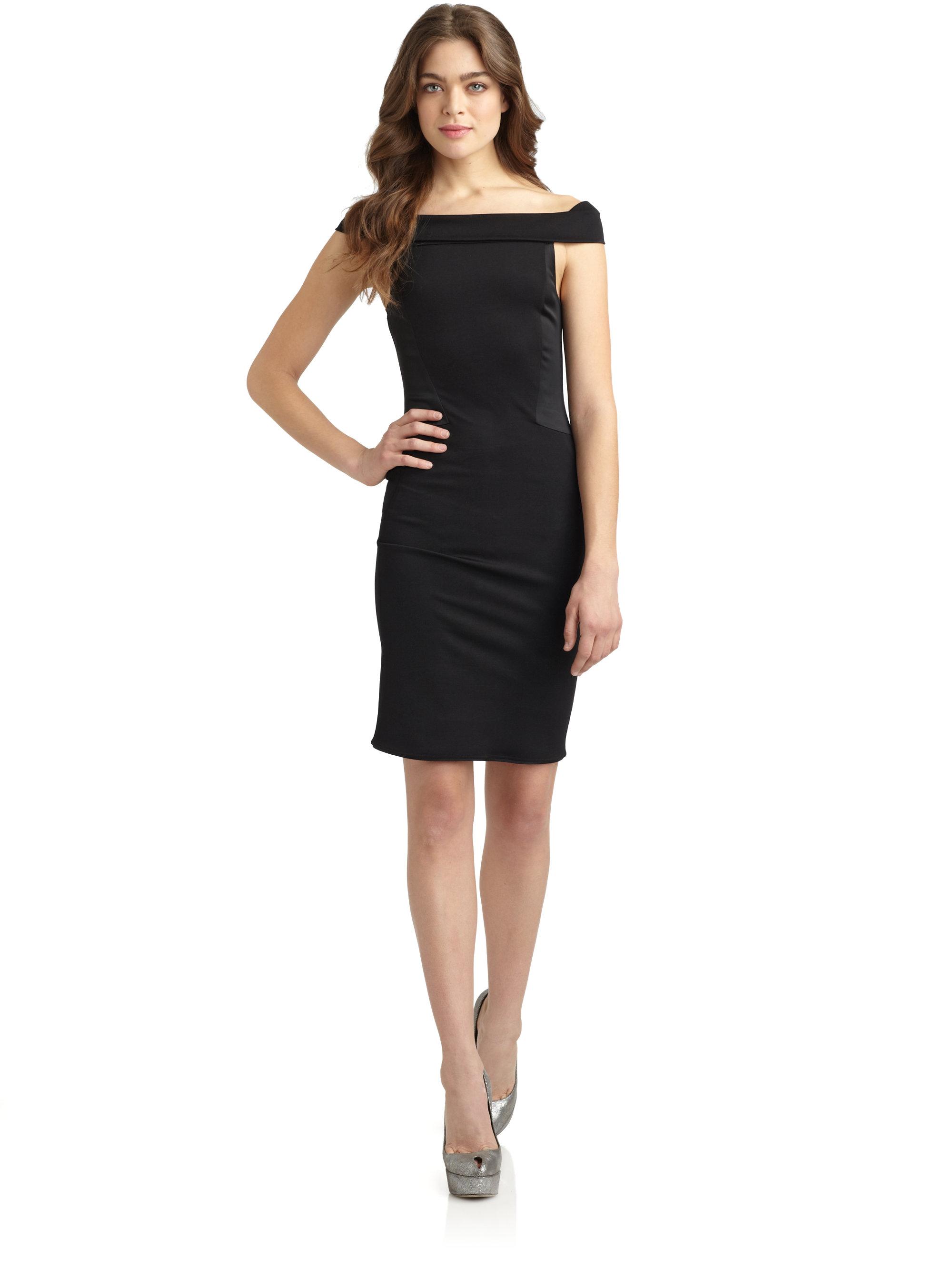 Halston Off Shoulder Cocktail Dress in Black | Lyst