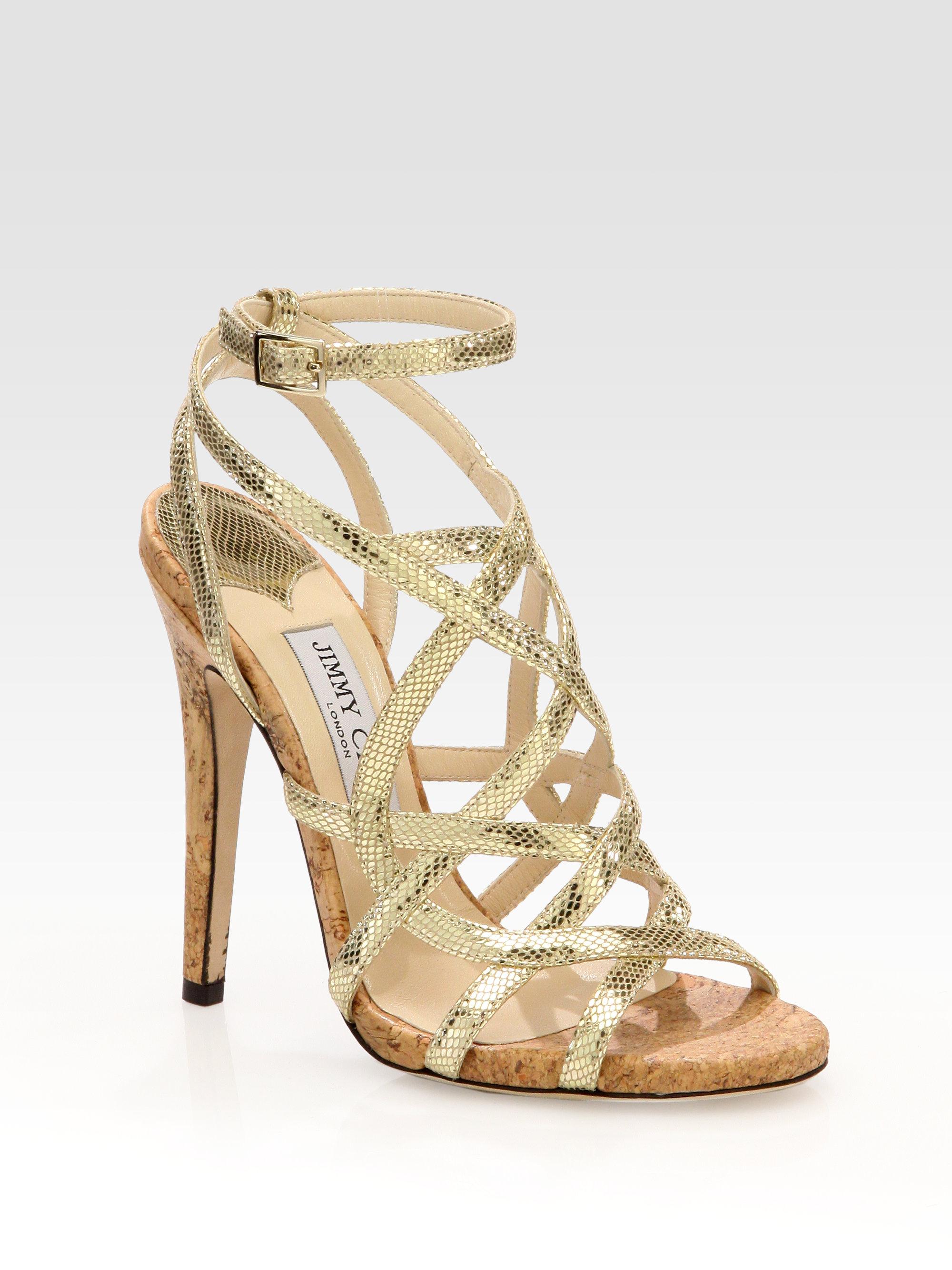 Jimmy Choo Dehlia Metallic Leather Cork Heel Sandals In