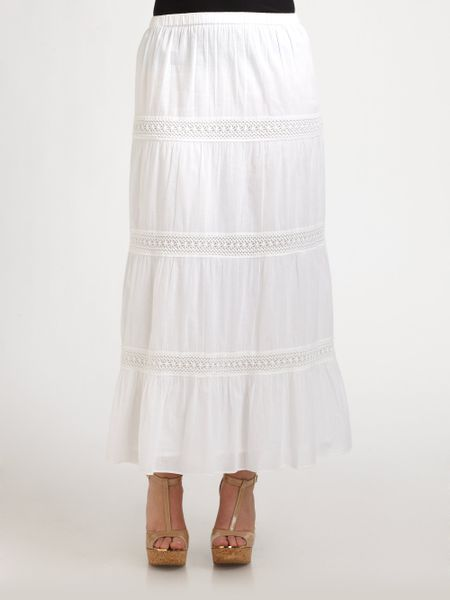 michael michael kors tiered cotton maxi skirt in white lyst