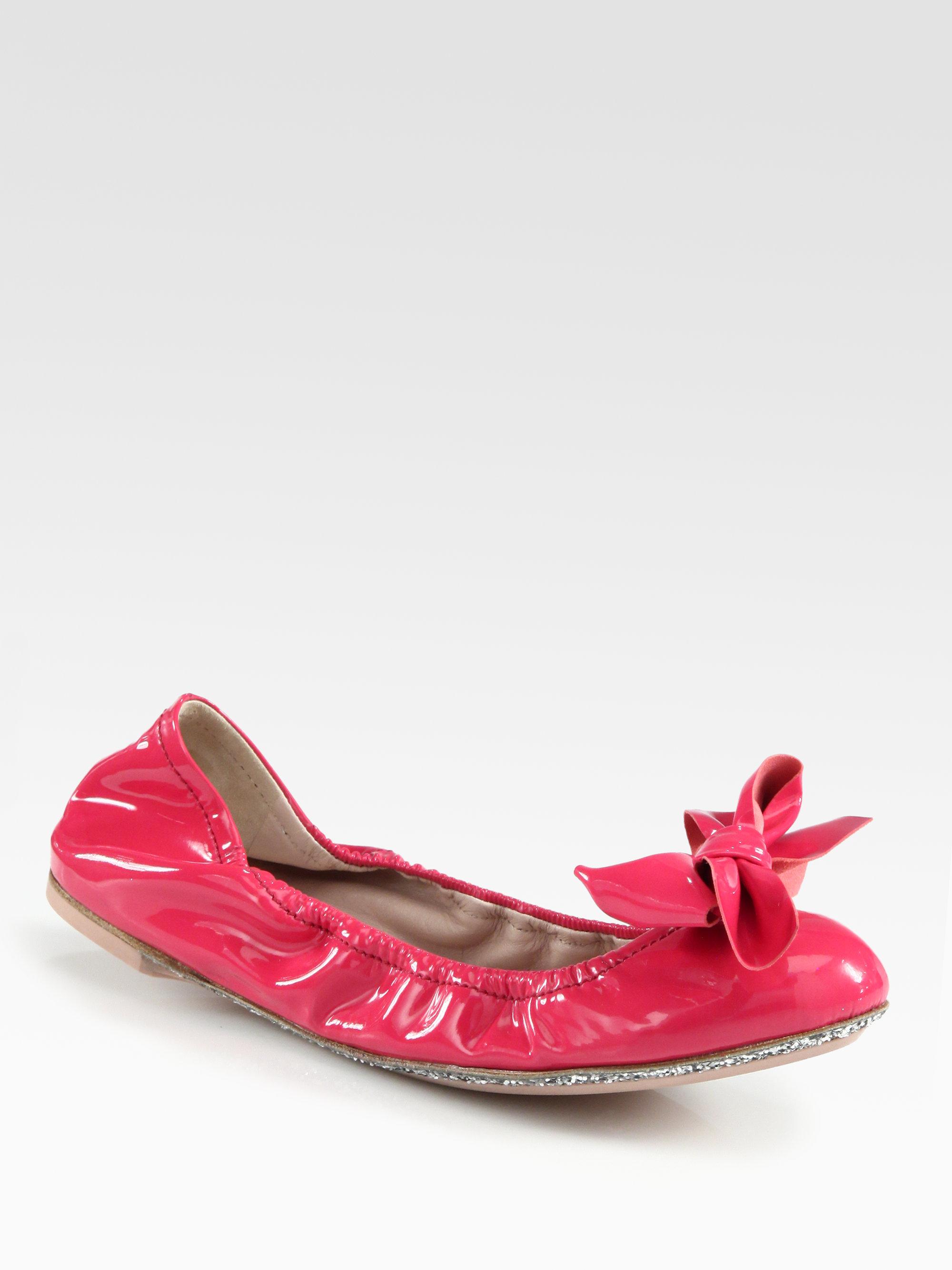 9eebac00167fd Lyst - Miu miu Patent Leather Glitter Bow Ballet Flats