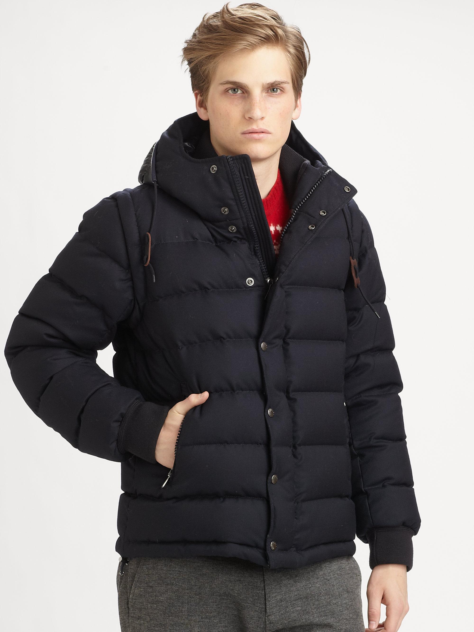Moncler Hem Hooded Wool Down Jacket for Men | Lyst