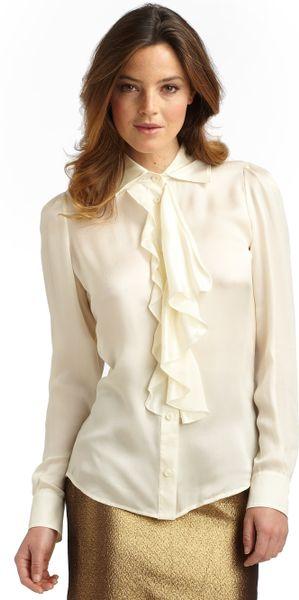 Boutique Moschino Silk Satin Ruffle Blouse In White Cream
