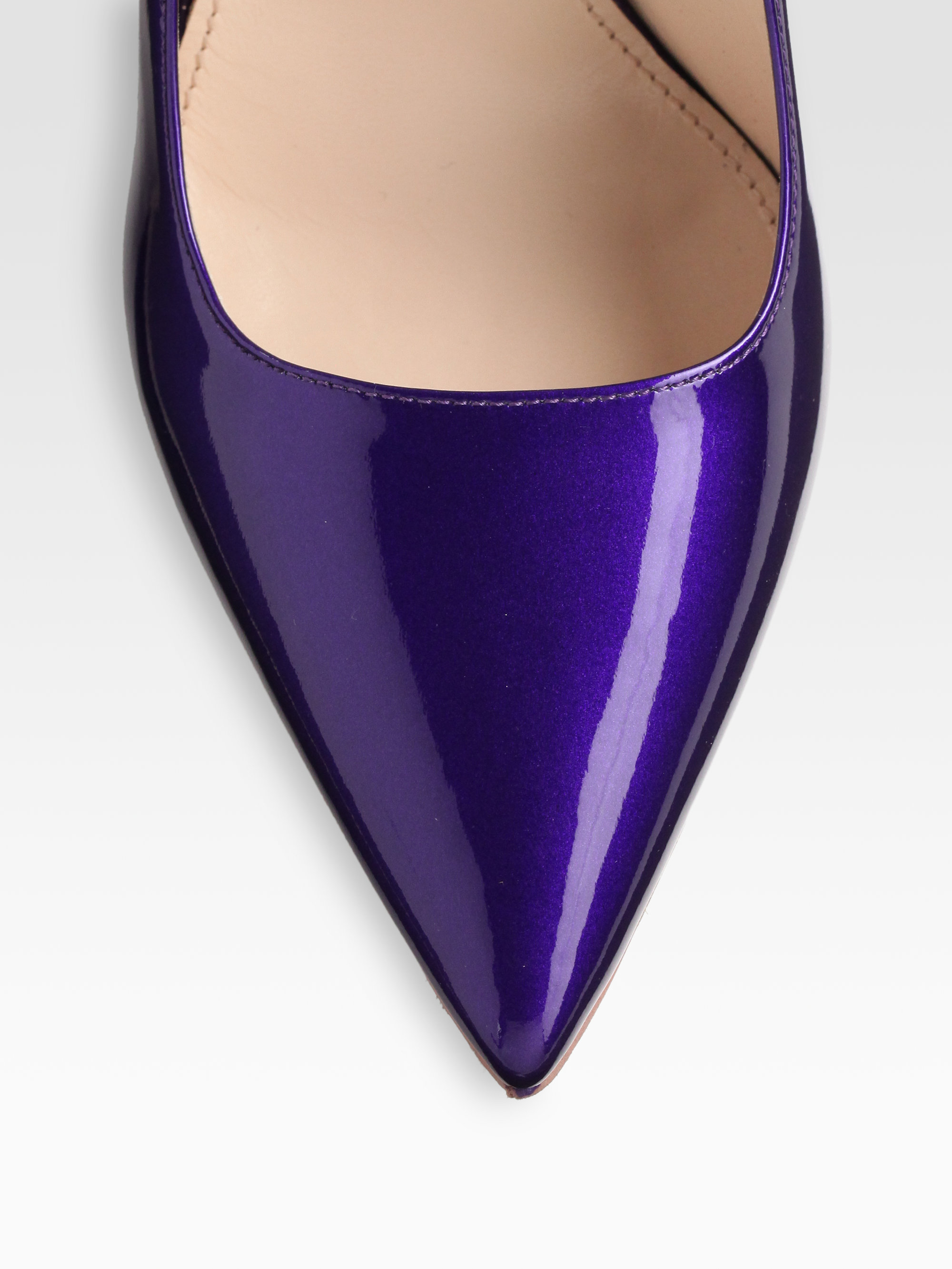 Prada Patent Leather Chrome Heel Pumps in Purple | Lyst