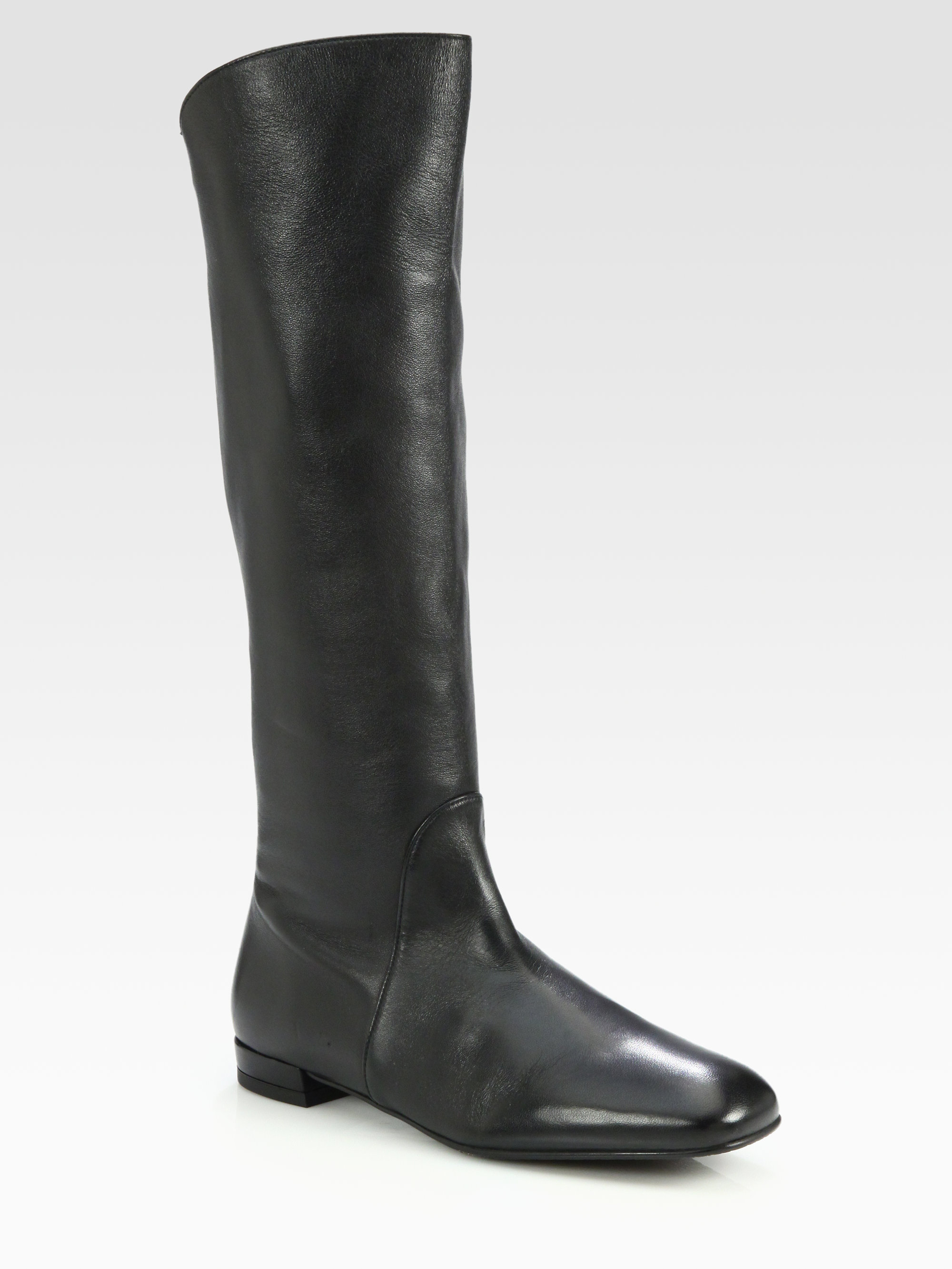 stuart weitzman halftime flat leather boots in black lyst
