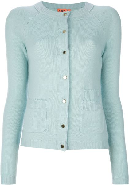 Tory Burch Button Fastening Cardigan in Green (blue)