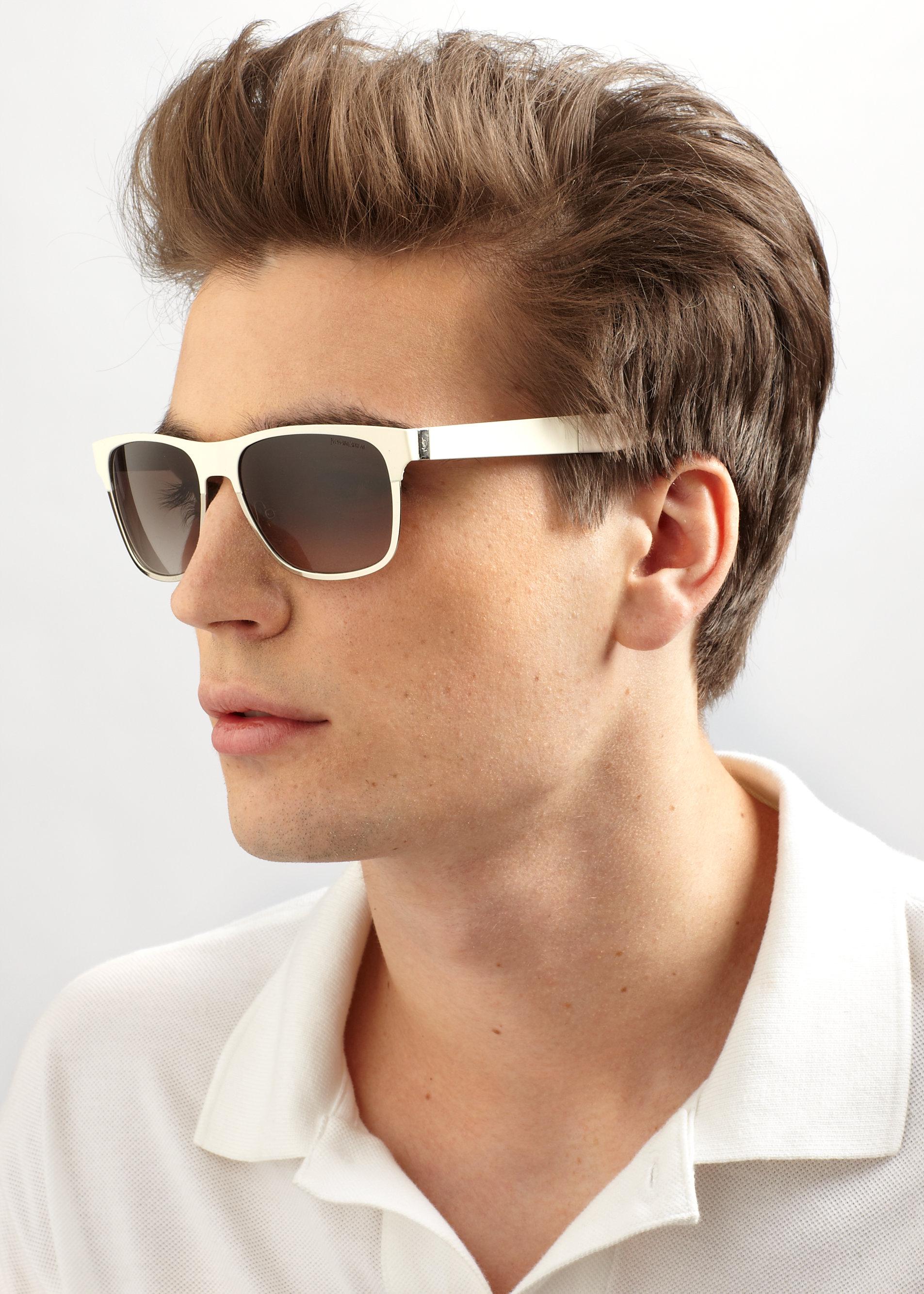 441f1c2a014 Lyst - Saint Laurent Metal Rectangular Sunglasses in White for Men