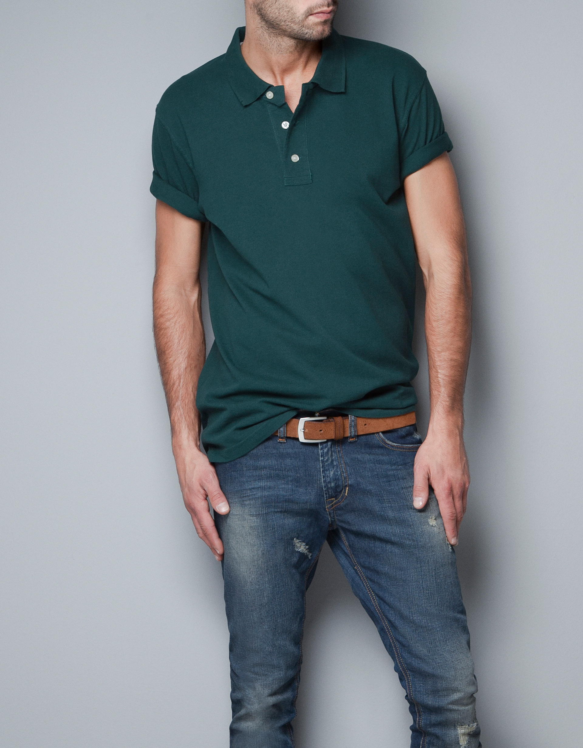 Zara basic pique polo shirt in green for men lyst for Man in polo shirt