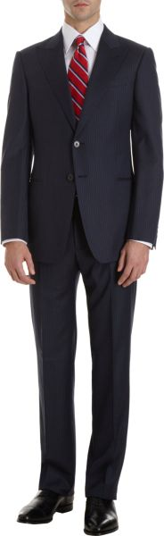 Armani Peeked Collar Gabardine Two-piece Suit in Black for Men