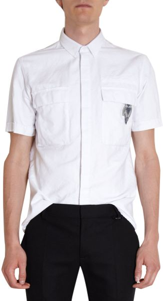 Balmain Short Sleeve Military Patched Shirt in White for Men