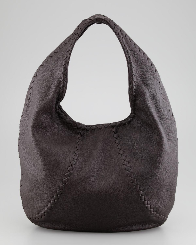 Bottega Veneta Cervo Leather Hobo Bag Espresso In Black