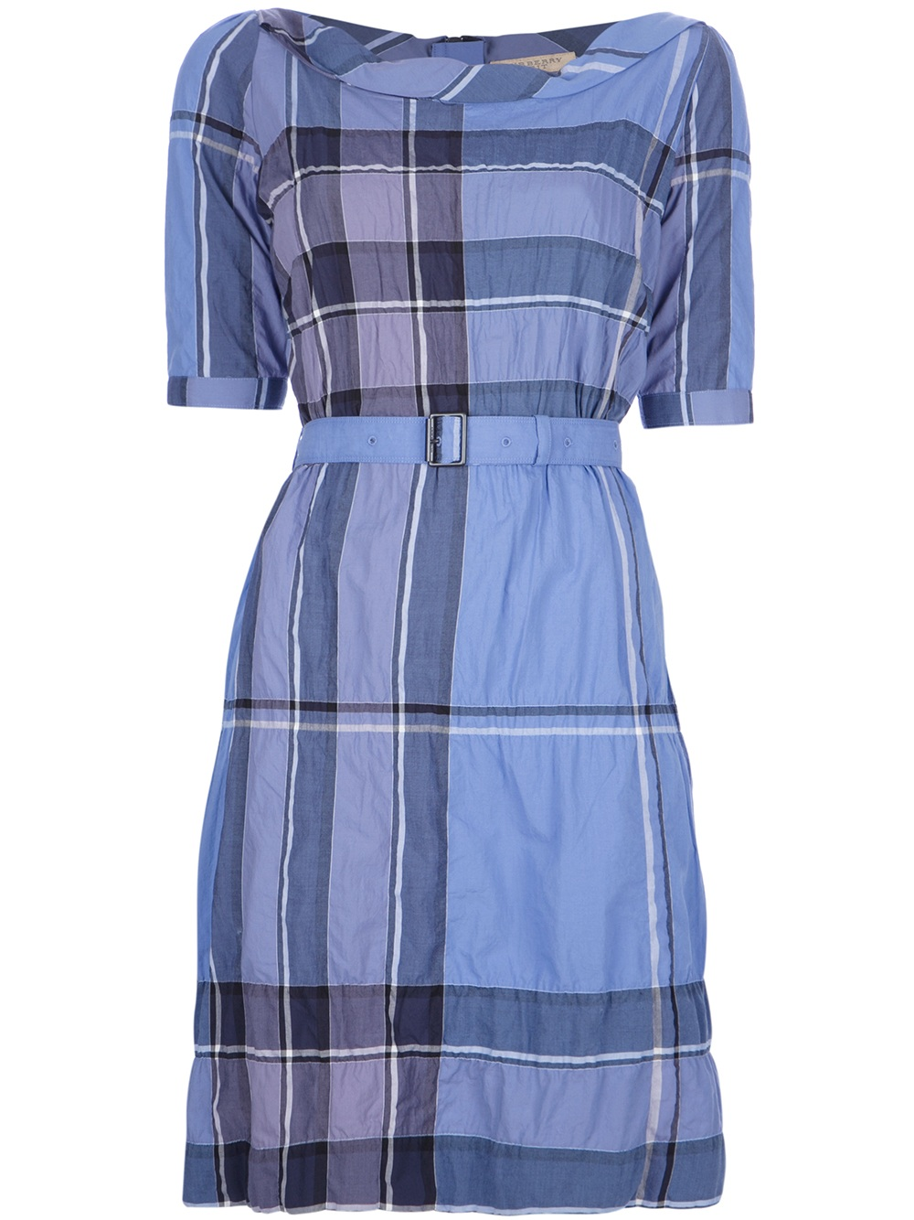Burberry brit kristie plaid dress in blue lyst for Burberry brit green plaid shirt