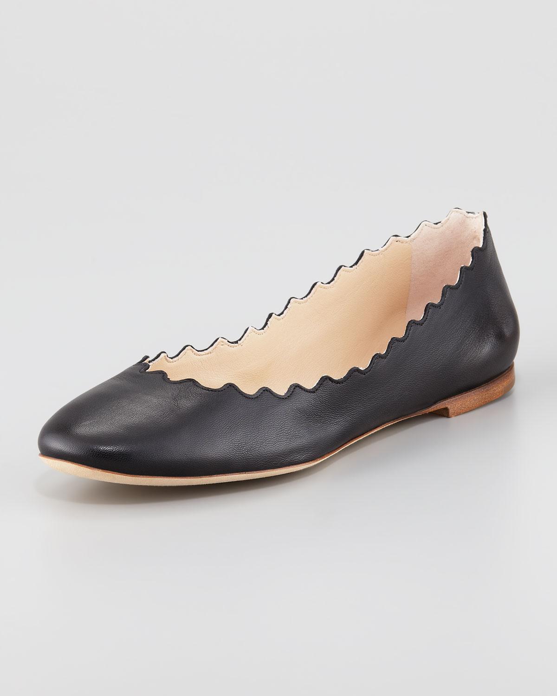 ecea3205a Lyst - Chloé Scallopedge Ballerina Flat in Black