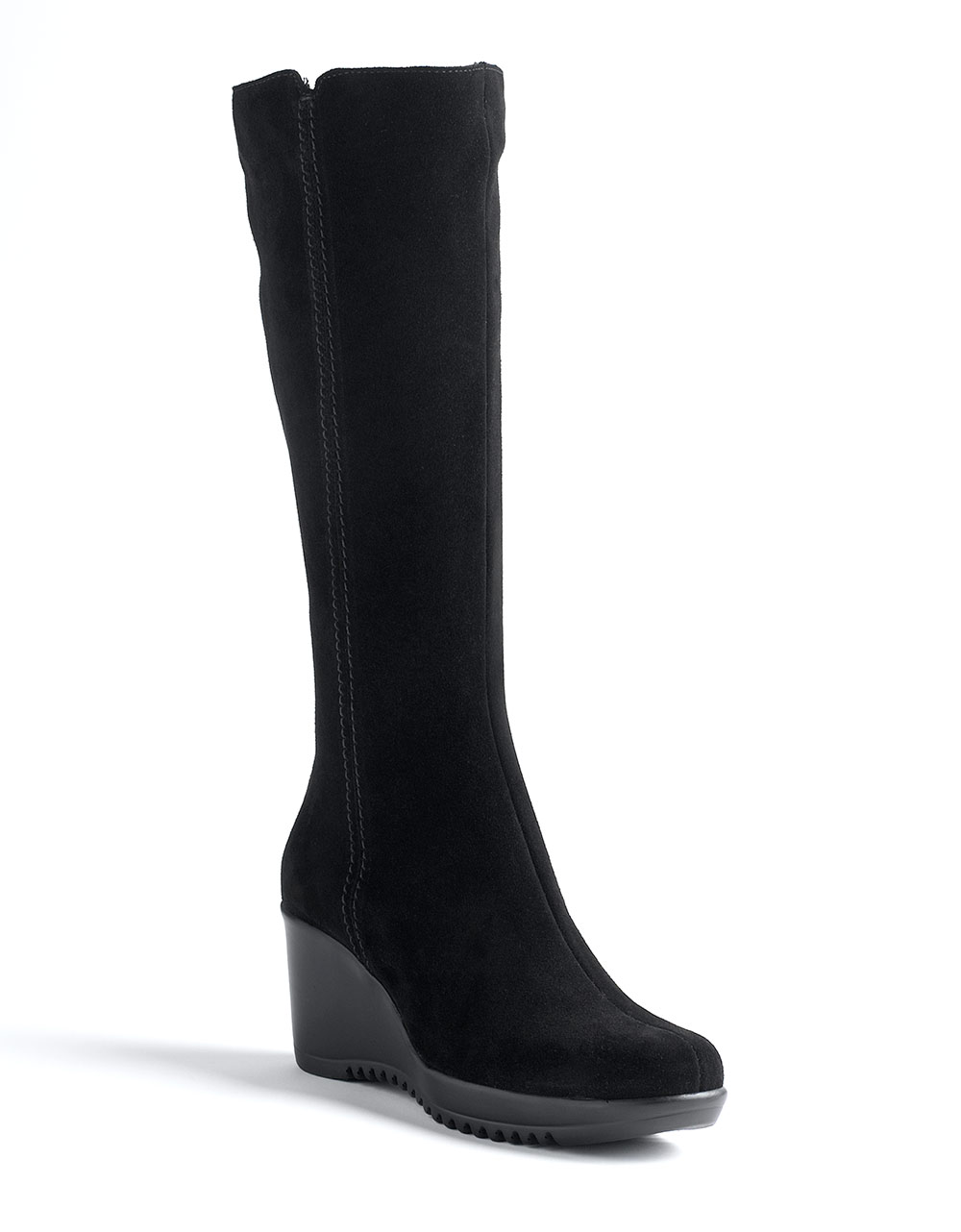 La canadienne Gaby Tall Suede Wedge Boots in Black