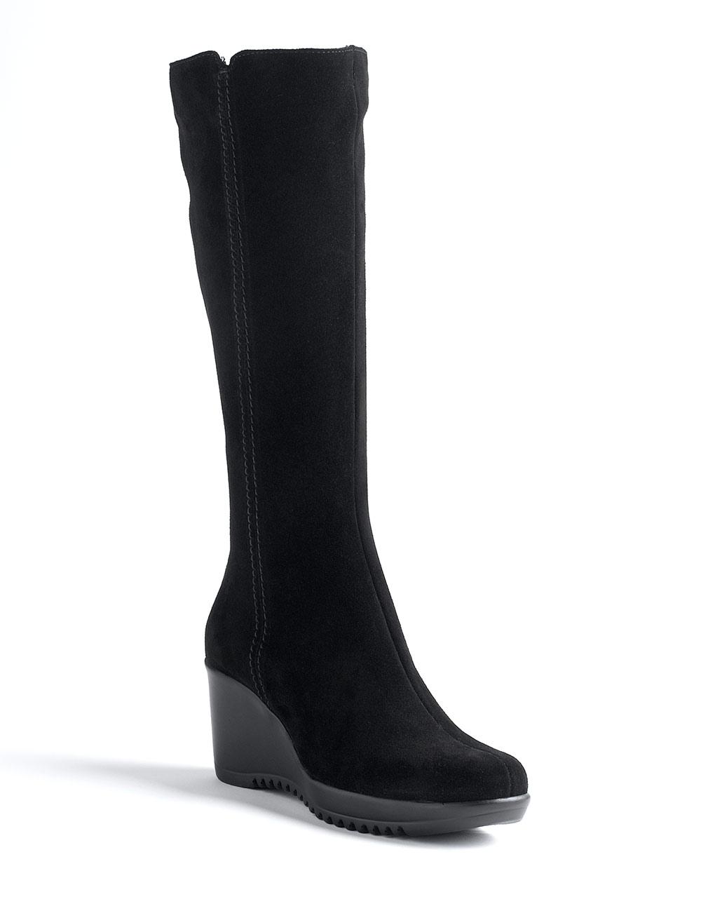 la canadienne gaby suede wedge boots in black black
