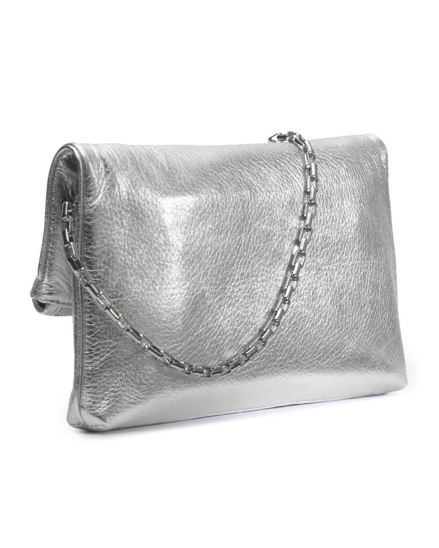 prada metallic fold-over clutch