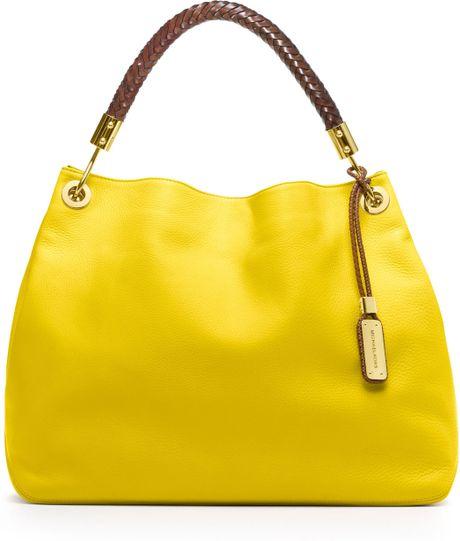 michael kors large skorpios shoulder bag in yellow lyst. Black Bedroom Furniture Sets. Home Design Ideas
