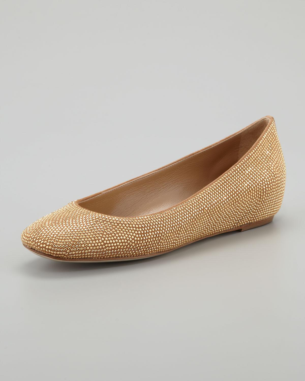 34d49da26bd7 Lyst - Rene Caovilla Studded Wedge Ballerina Gold in Metallic