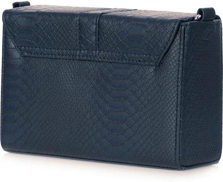 Topshop Snake Trim Boxy Bag in Blue (navy)