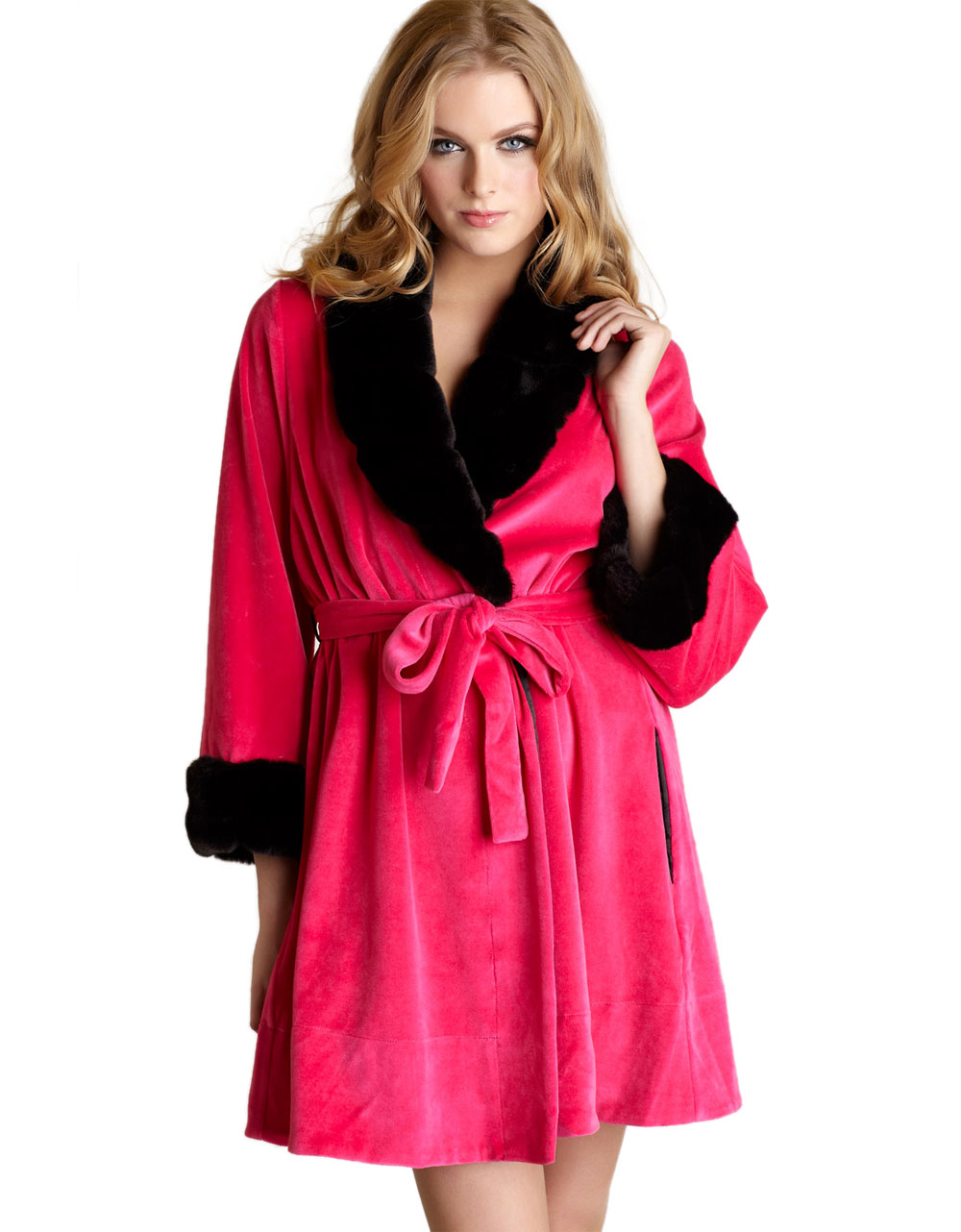 Betsey johnson velour robe with faux mink trim in pink for Robes de mariage de betsey johnson